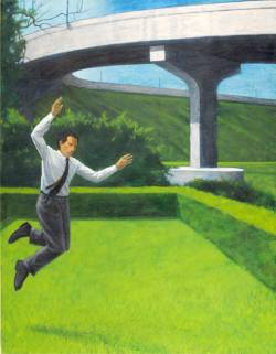 Leaping Man By Bridge